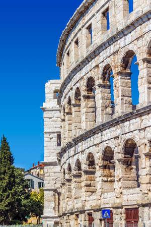 colonade: Roman time arena in Pula, detail, Croatia.  Editorial