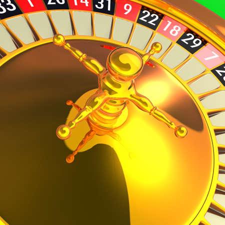 Golden roulette detail 3D rendering illustration. Photo - Realistic rendering. illustration