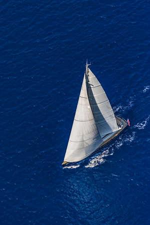 adriatic: Sailing on the Adriatic sea - aerial shot