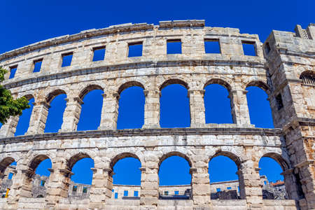 Roman time arena in Pula, detail, Croatia.  photo