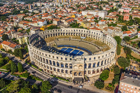 Roman time arena in Pula, detail, Croatia.