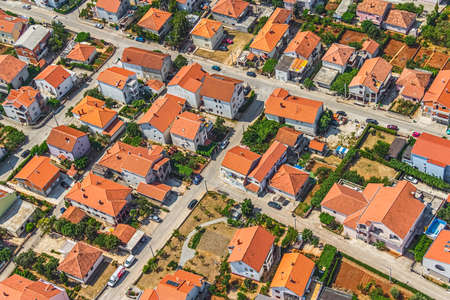 ZADAR, CROATIA - JULY 7:  Aerial view of city with residential area on July 7, 2012 in Zadar, Croatia.