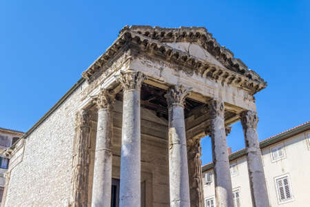 Detail of Roman temple of Augustus in Pula, Croatia. photo