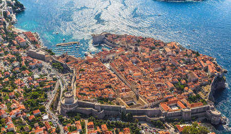 Aerial helicopter shoot of Dubrovnik old town. Stock Photo