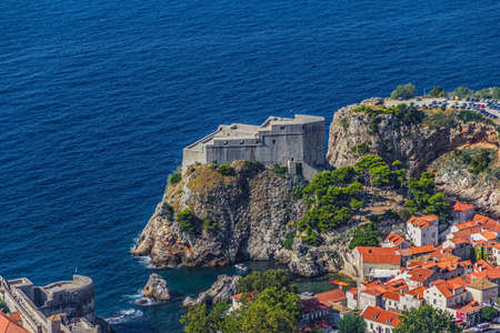 Aerial helicopter shoot of Dubrovnik old town. St. Lawrence fortress.