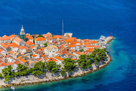 Aerial helicopter shoot of Korcula old town. Dubrovnik archipelago - Elaphites islands photo