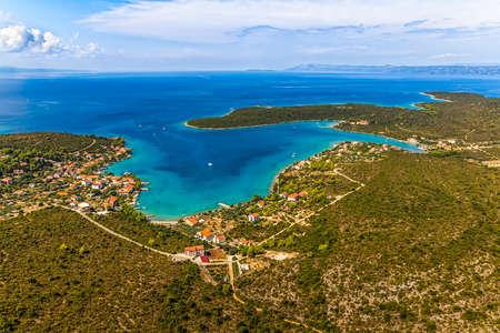 Helicopter aerial shoot of tip of the Peljesac peninsula - Dubrovnik archipelago, Croatia Stock Photo