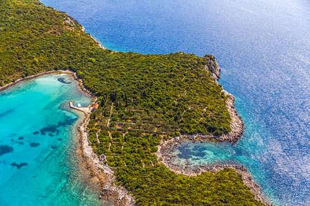 turism: Helicopter aerial shoot of tip of the Peljesac peninsula - Dubrovnik archipelago, Croatia