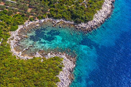 Helicopter aerial shoot of tip of the Peljesac peninsula - Dubrovnik archipelago, Croatia photo