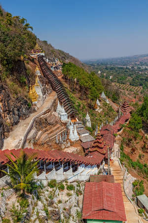 Path to the Pindaya caves, Buddhist shrine  where thousands of Buddha images have been consecrated for worship over the centuries. photo