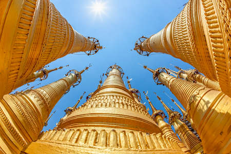 Renovated Ancient Stupas at Indein, Inle Lake, Myanmar  Fisheye lens shoot  photo