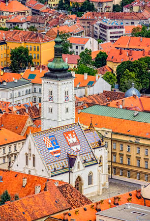 Church of St  Mark Zagreb, Croatia  Helicopter aerial view  Stock Photo