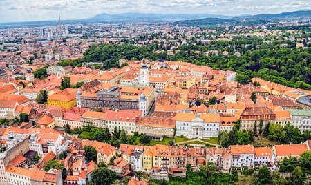Zagreb Panorama with Church of St  Mark in the middle, Croatia  Helicopter aerial view  photo