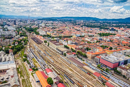 The main train station in Zagreb  Helicopter aerial view  photo