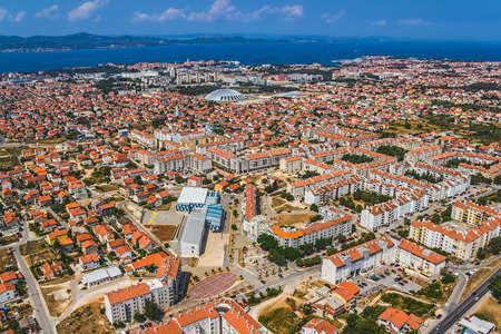 ZADAR, CROATIA - JUL 7:  Aerial view of city with residential area on Jul 7, 2012 in Zadar, Croatia.