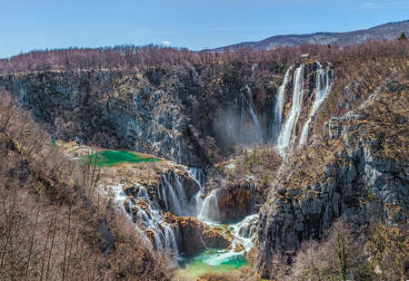 plitvice: Vegetation just before it begin to rebuild after long winter  Plitvice lakes national park in Croatia  Stock Photo