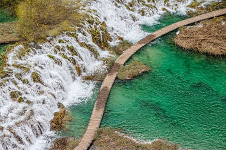 Plitvice lakes national park in Croatia. Vegetation just before it begin to rebuild after long winter. photo