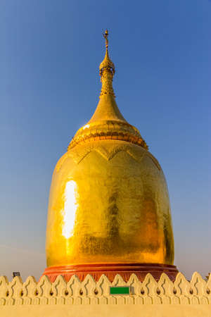Bupaya stupa (a gourd shape pagoda) on the eastern bank of Ayeyarwaddy River in old Bagan, Burma. photo