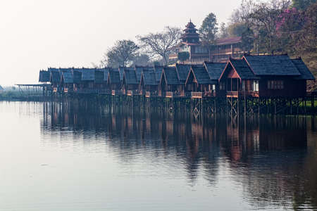 INLE LAKE, MYANMAR - FEBRUARY 28: Replica of the traditional floating village engineered as a hotel with bungalows on February 28, 2013 in Inle Lake, Myanmar.