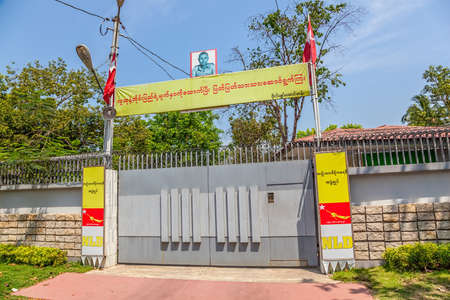 under arrest: YANGON, MYANMAR - MAR 1: Home entrance of Aung San Suu Kyi who receive Nobel Peace Prize in 1991 also leader of NLD party on Mar 1, 2012 in Yangon, Myanmar. She remained under house arrest in Burma for almost 15 years.