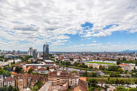ZAGREB, CROATIA - JUNE 12: Panorama of the city shoot from top of the skyscraper with a view to the stadium of football club Zagreb on June 12, 2013 in Zagreb, Croatia.