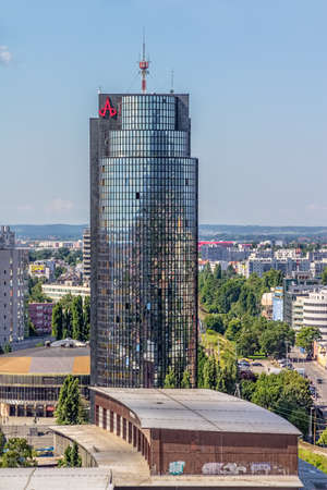 ZAGREB, CROATIA - JUNE 12: Panorama of the city shoot from top of the skyscraper with a view to the business skyscraper Cibona owned by Agrokor concern on June 12, 2013 in Zagreb, Croatia.