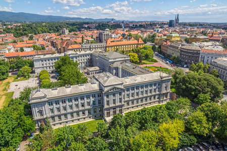 ZAGREB, CROATIA - JUNE 12: Panorama of the city center shoot from top of the skyscraper with a view to the museum Mimara and and cathedral in the distance on June 12, 2013 in Zagreb, Croatia.