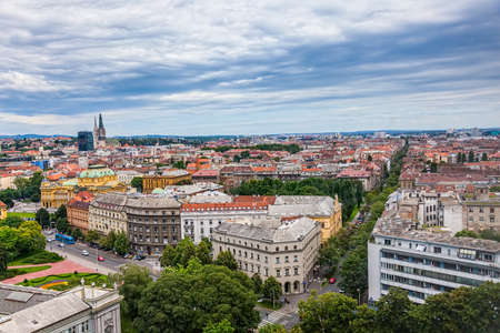 ZAGREB, CROATIA - JUNE 12: Panorama of the city center shoot from top of the skyscraper with a view to the intersection in front of Westin hotel with cathedral in the distance on June 12, 2013 in Zagreb, Croatia.