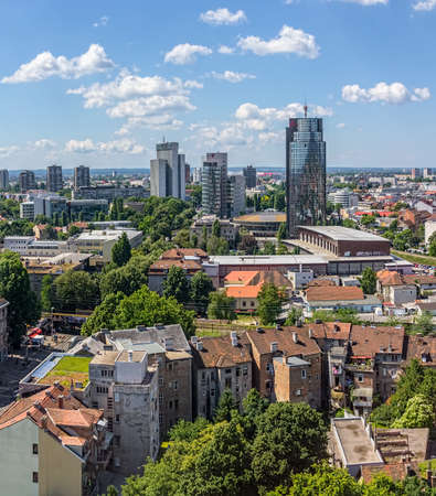 ZAGREB, CROATIA - JUNE 12: Panorama of the city shoot from top of the skyscraper with a view to the business area on June 12, 2013 in Zagreb, Croatia.