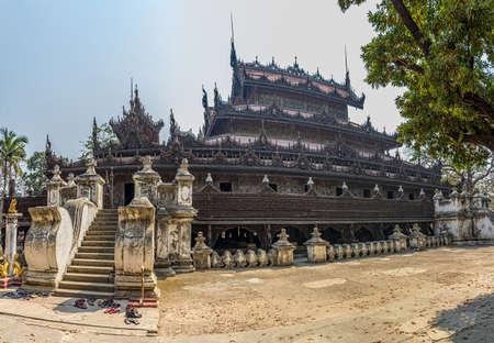 burmese: Shwenandaw Kyaung Temple or Golden Palace Monastery in Mandalay, Myanmar  Stock Photo