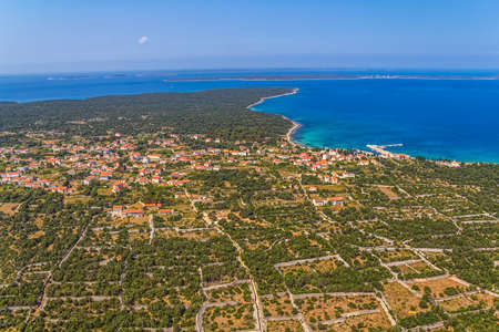 confines: Aerial panorama of island Olib in Zadar area.