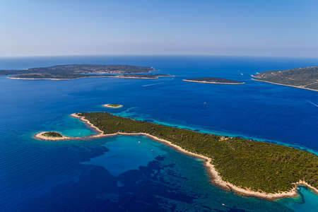 Aerial panorama of island Losinj in Zadar area, Croatia. photo