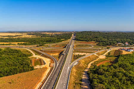 Aerial shot of highway near Pula, Croatia. photo