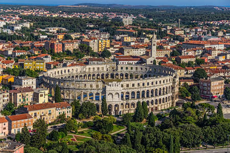 Roman time arena in Pula, detail, Croatia photo
