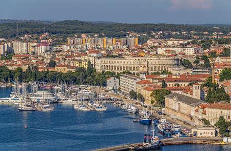 Aerial view of Pula, Istria, Croatia.