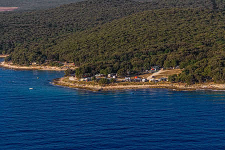 Helicopter aerial shoot of Istrian nature and auto camp near Pula, Croatia photo
