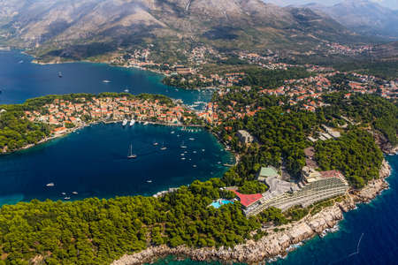 Helicopter aerial shoot of Cavtat. Well known tourist destination near Dubrovnik. photo