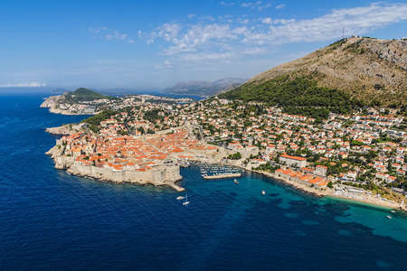 Aerial helicopter shoot of Dubrovnik old town  photo