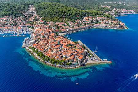 Aerial helicopter shoot of Korcula old town  Dubrovnik archipelago - Elaphites islands Stock Photo