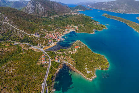 koruna: Medieval town Mali Ston in Dubrovnik area at the one end of the world known Ston walls  Second in world the longest defense wall with fortress Koruna