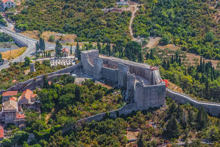 koruna: Medieval town Mali Ston in Dubrovnik area at the one end of the world known Ston walls  Fortress Koruna detail