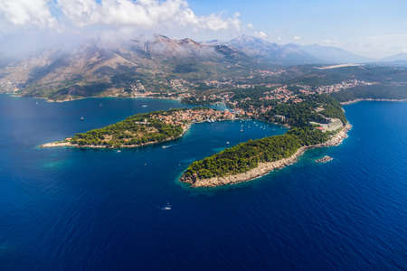 Helicopter aerial shoot of Cavtat  Well known tourist destination near Dubrovnik  photo