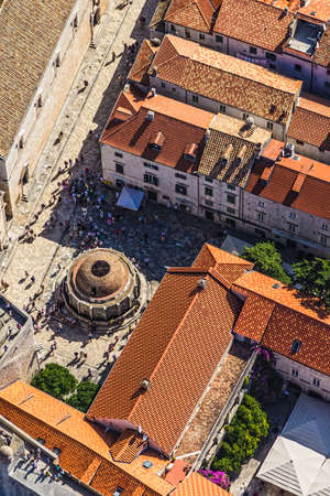 Famous Onofrio Fountain in Dubrovnik old town inside historical city walls  Aerial helicopter shoot  photo