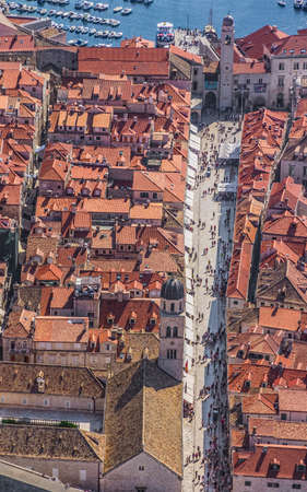 Aerial helicopter shoot of Dubrovnik old town  Main street Stradun  Placa  full visible  photo