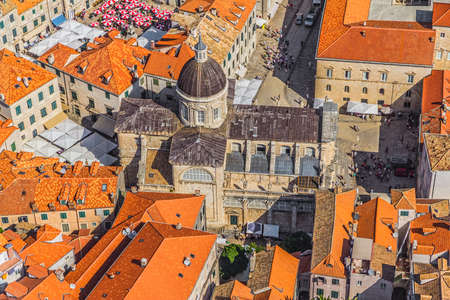 Aerial helicopter shoot of Dubrovnik old town cathedral  photo