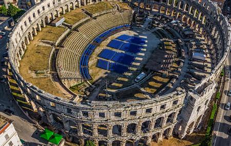 colonade: Roman time arena in Pula, detail, Croatia.  Stock Photo