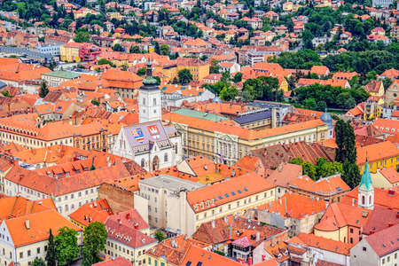 Church of St  Mark and parliament building Zagreb, Croatia  Helicopter aerial view  photo