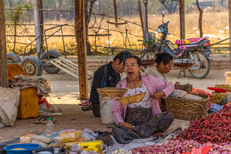 BAGAN, MYANMAR - FEBRUARY 24: A woman selling pepper at the local market on February 24, 2013 in Bagan, Myanmar. All the food is organically grown.
