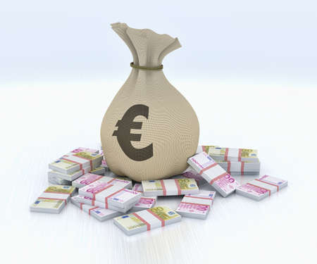 Bag with money, euros photo