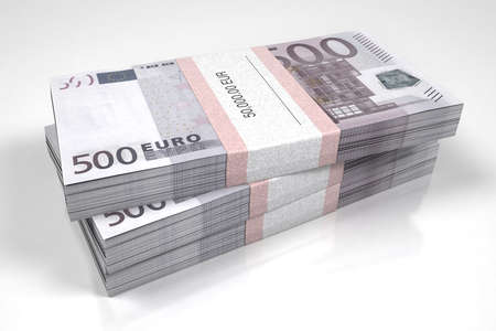 packets: Packets of 500 Euro bills Stock Photo